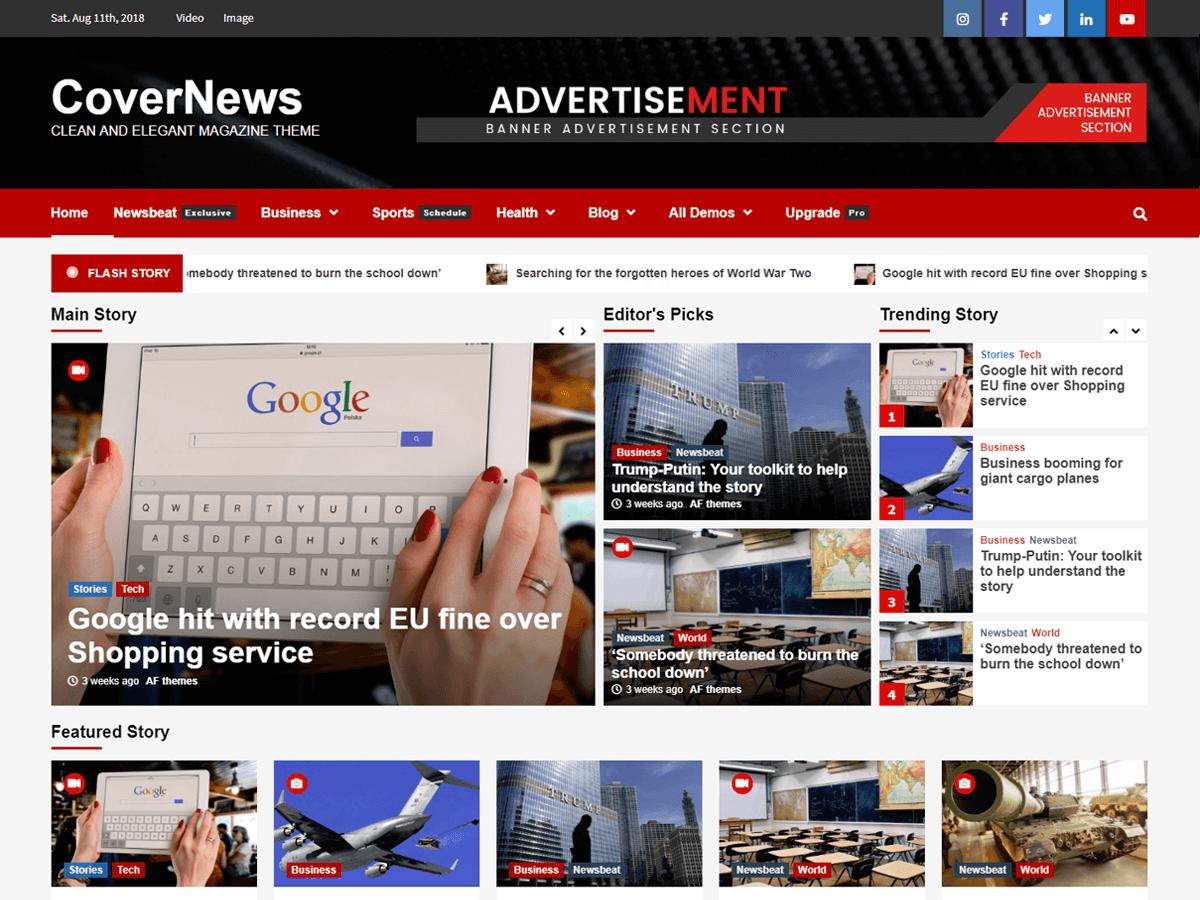 Free WordPress themes covernews