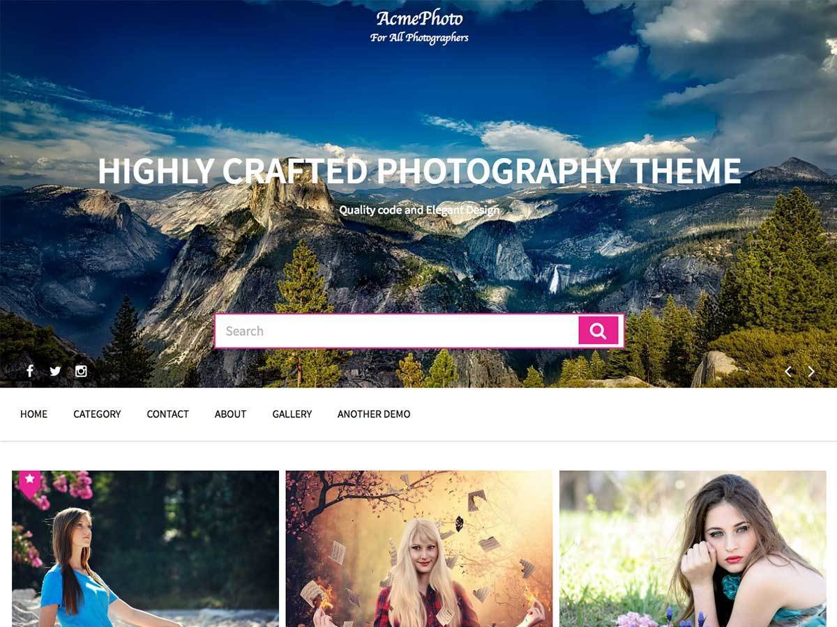 Free WordPress themes AcmePhoto