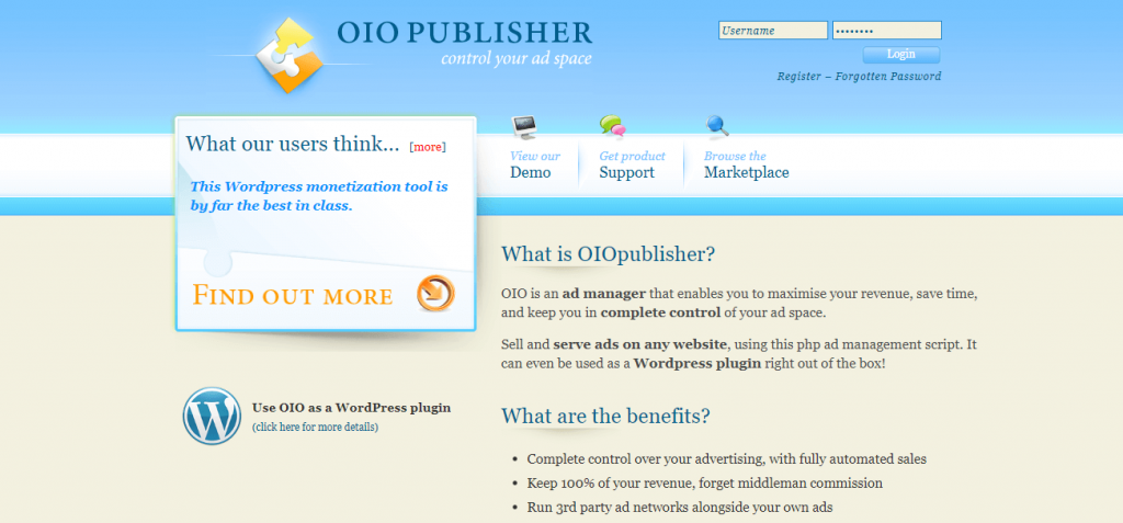 oio Google AdSense alternative for WordPress Website