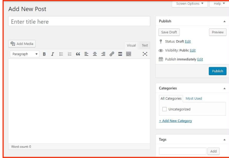 classic interface add a new post in WordPress using the Gutenberg editor