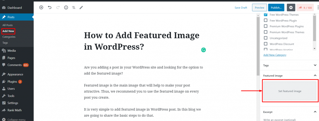 Add Featured Image in WordPress