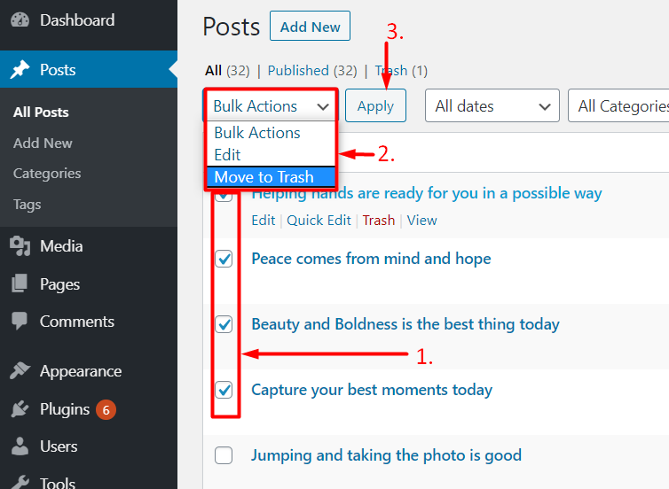 how to delete a post in wordpress bulk