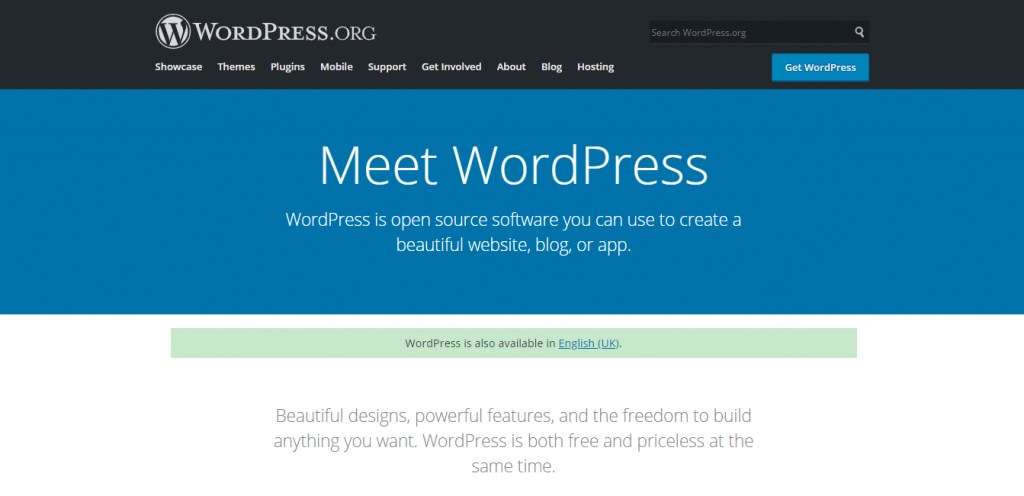 WordPress.Org Home Page Banner