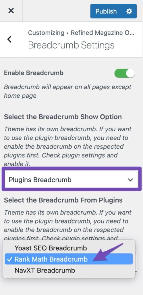 Refined Magazine Plugin Breadcrumb