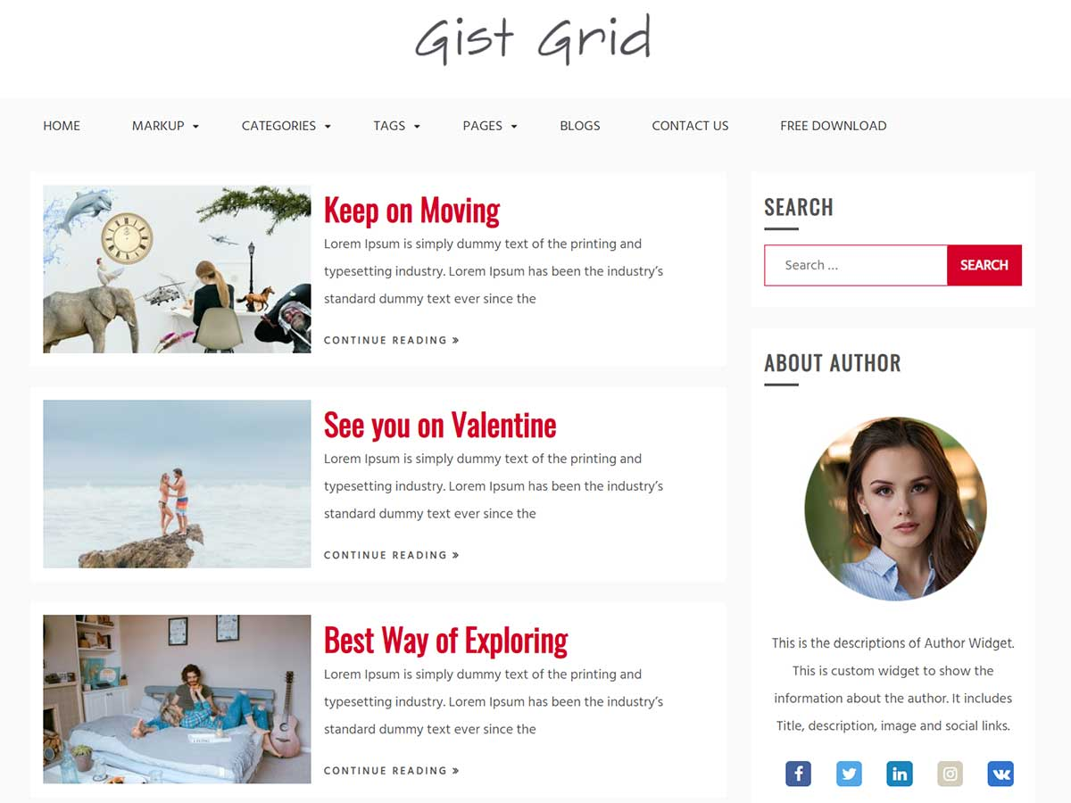 responsive WordPress theme gist grid