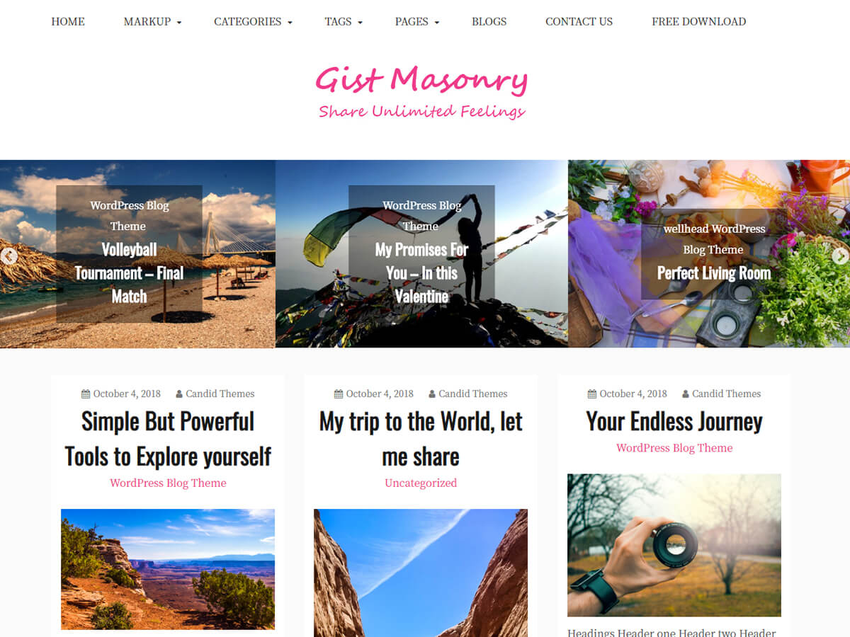 Gist Masonry Free WordPress Theme Default