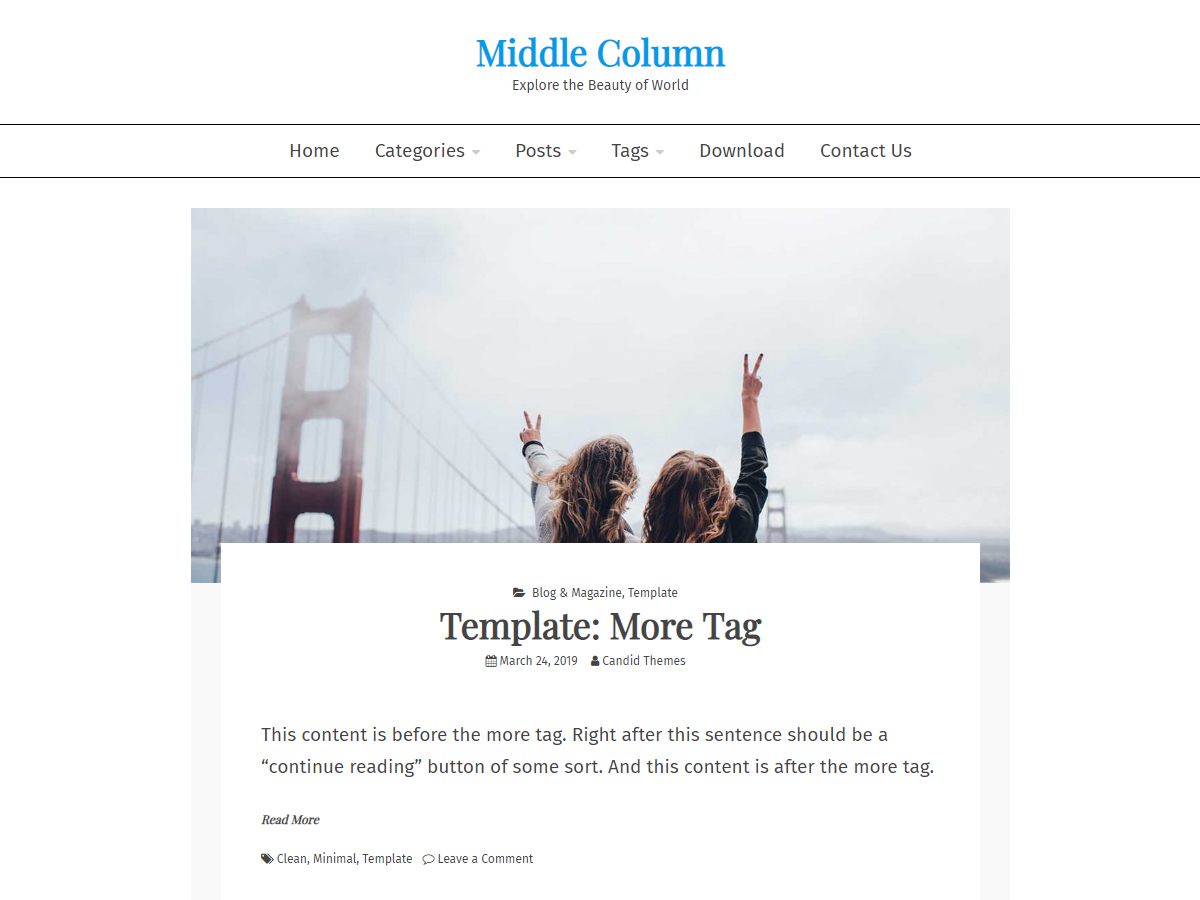 Ocius – Free WordPress Theme Middle Column