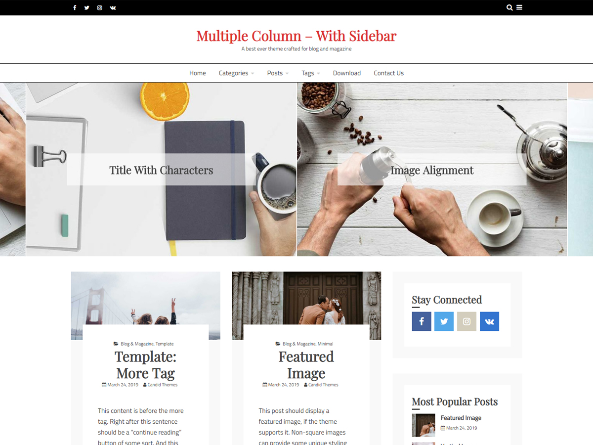 Ocius – Free WordPress Theme Two Column