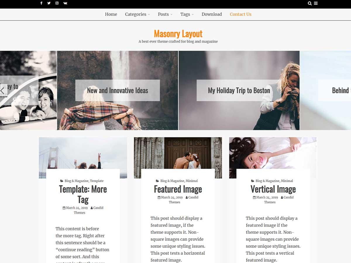 OciusPro – Premium WordPress Theme Masonry Layout