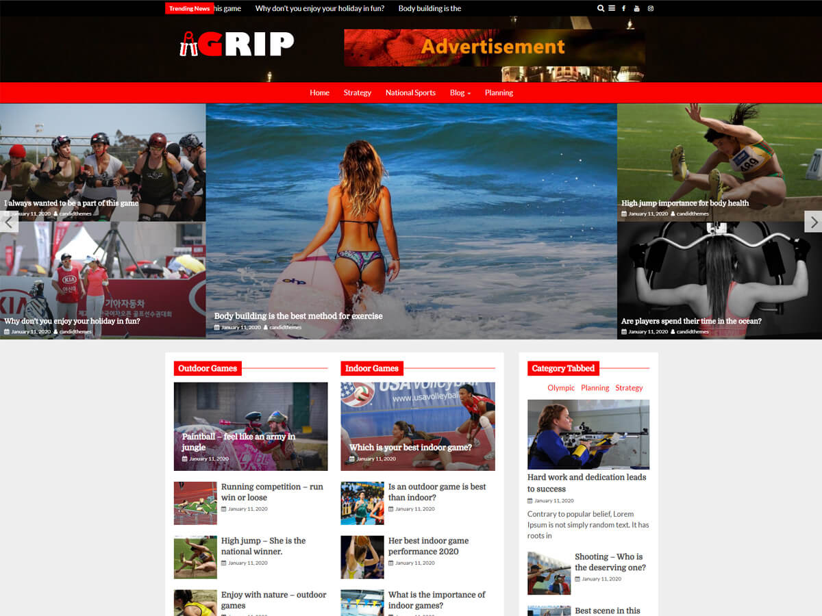 Grip Pro – Premium Magazine WordPress Theme Sports Demo