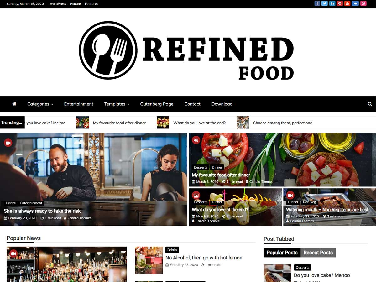 Refined Magazine Pro – Premium Magazine WordPress Theme Food Demo Pro