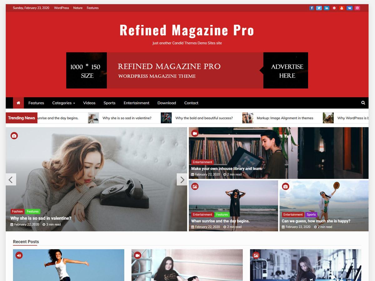 Refined Magazine – Free Magazine WordPress Theme Pro Default Demo
