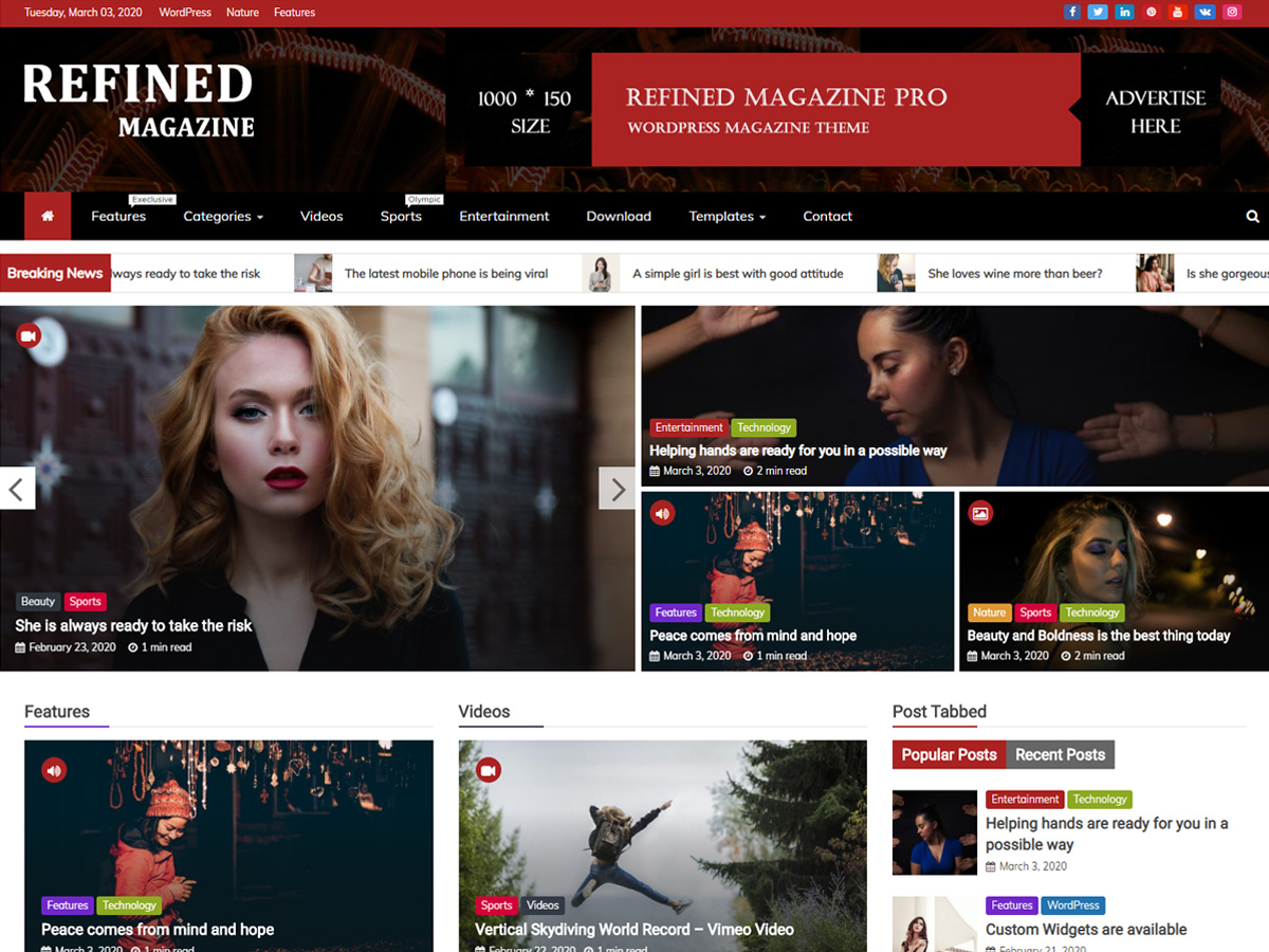 Refined Magazine Pro – Premium Magazine WordPress Theme Free Demo