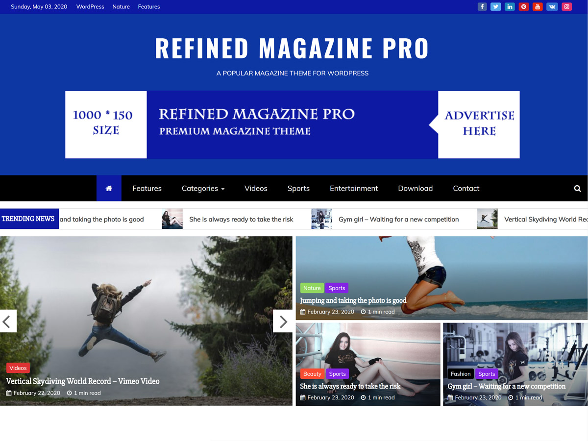 Refined Magazine Pro – Premium Magazine WordPress Theme Default Demo Pro