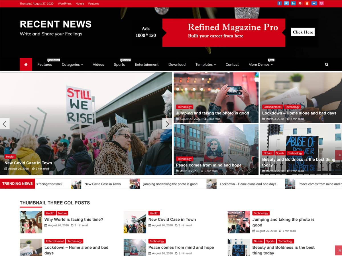 recent news WordPress theme