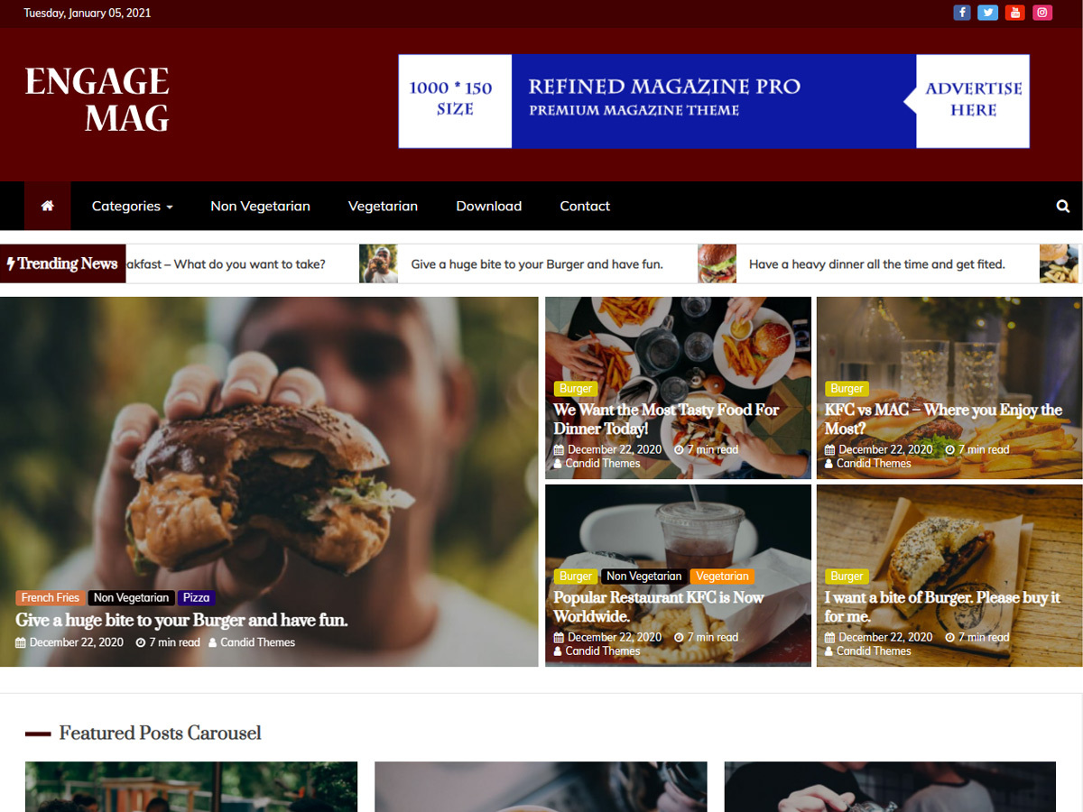 Engage Mag – Free WordPress Magazine Theme Food Demo
