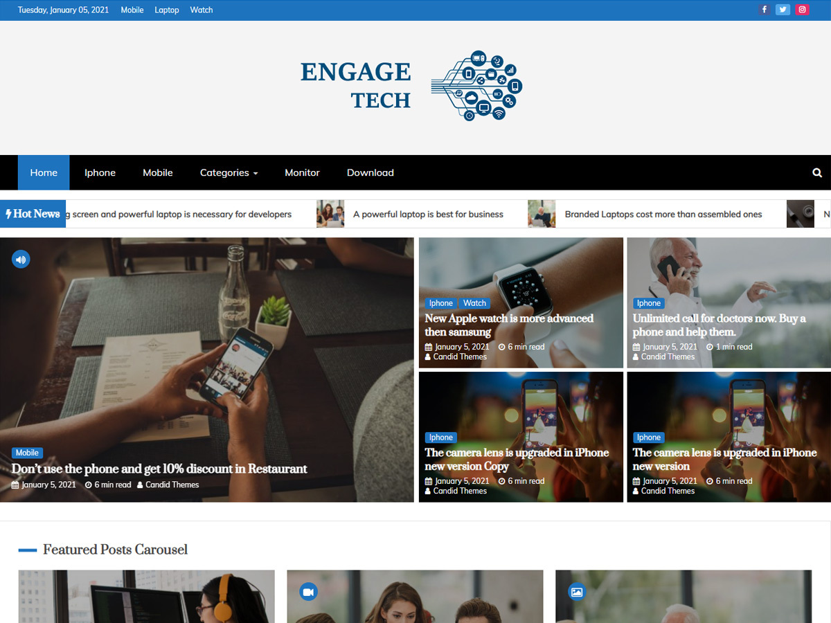 Engage Mag – Free WordPress Magazine Theme Tech Demo