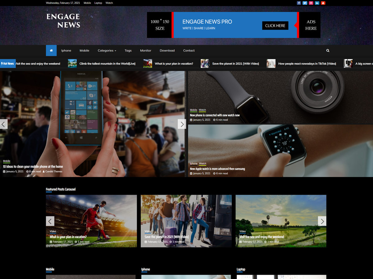 Engage News Pro – Premium Magazine Theme Dark Demo