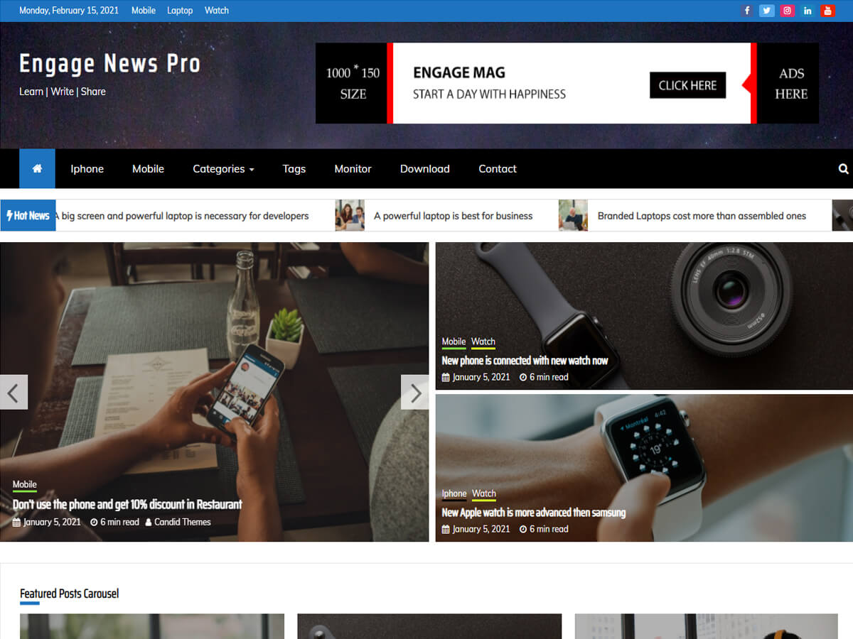 Engage News Pro – Premium Magazine Theme Main Demo
