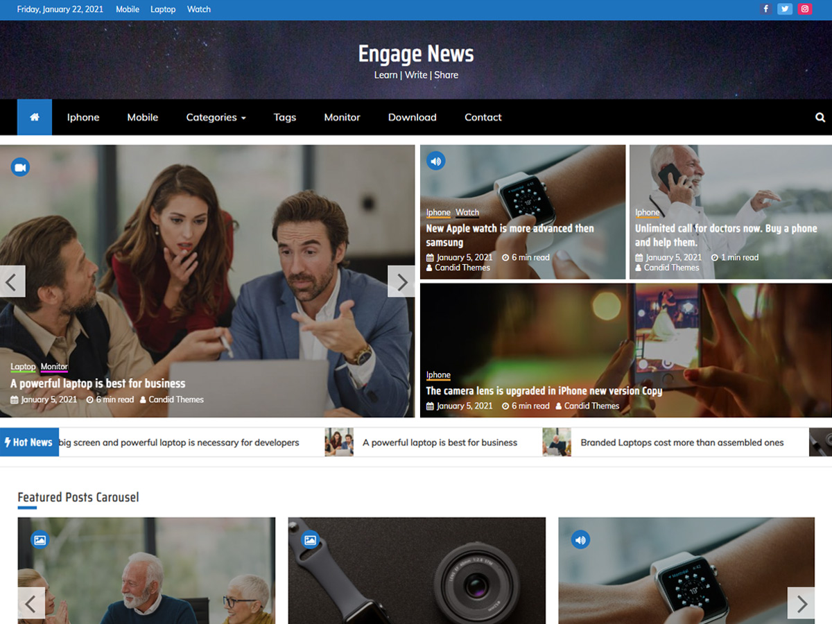 Engage News Pro – Premium Magazine Theme Parent Demo